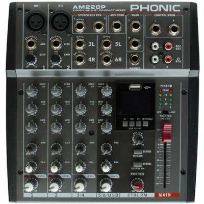 AM220P Keverőpult, 2 Monó/2 Sztereó csatorna, USB lejátszó
