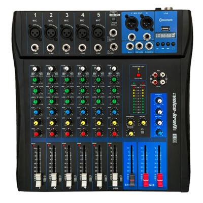 EVoice-6 Keverőpult, 5 Monó/1 Sztereó csatorna, USB lejátszó, Bluetooth
