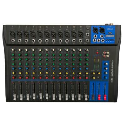 Evoice-12 Keverőpult, 11 Monó/1 Sztereó csatorna, USB lejátszó, Bluetooth